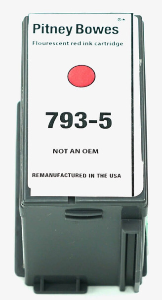 This is the front view of the Pitney Bowes 793-5 red replacement inkjet cartridge by NXT Premium toner