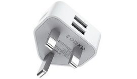 2.4A Dual USB 3-Pin UK Charging Plug - White