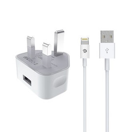 2.1A USB Plug & 1m Non-MFI Lightning Cable - Clickandbuy.today