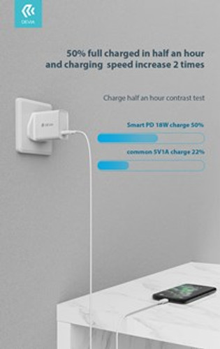 Devia - 18W Type C Power Delivery 3-Pin UK Charging Plug & 1m PD Type C to Lightning Cable - White - Clickandbuy.today