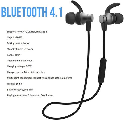 bluetooth headphones, VIDVIE Wireless Magnetic Sport Earphones( Bluetooth 4.1, High Fidelity Sound, APTX, 8 Hours Playtime, Secure Fit for Running)-Black