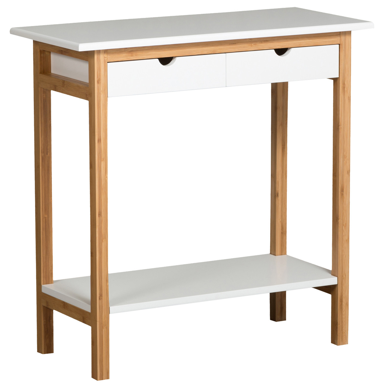White Two Drawer Console Table Made From Bamboo.