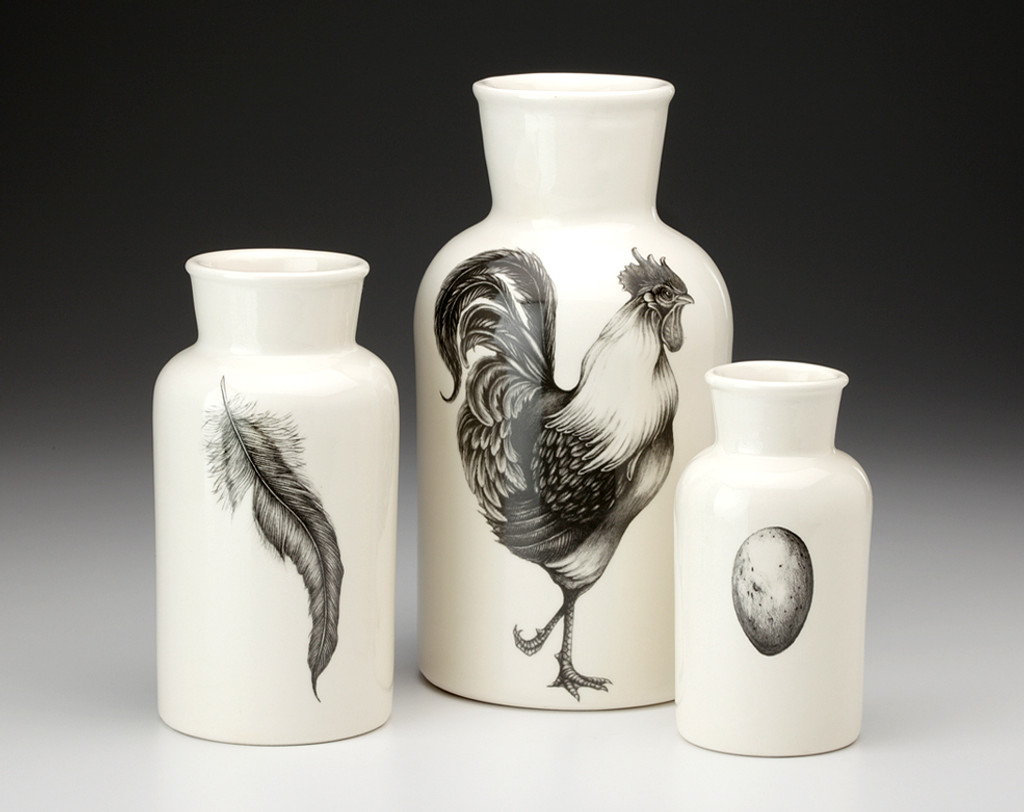Set of 3 Jars: Rooster, Feather & Egg