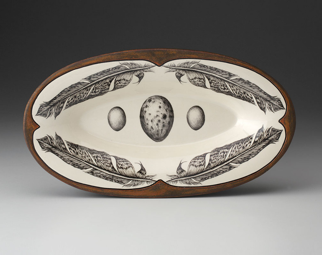 Oblong Serving Dish: Pheasant Feather