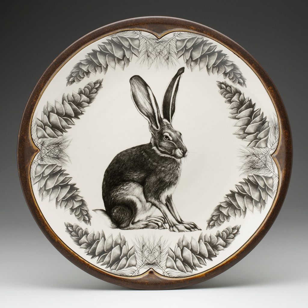 Large Round Platter: Sitting Hare