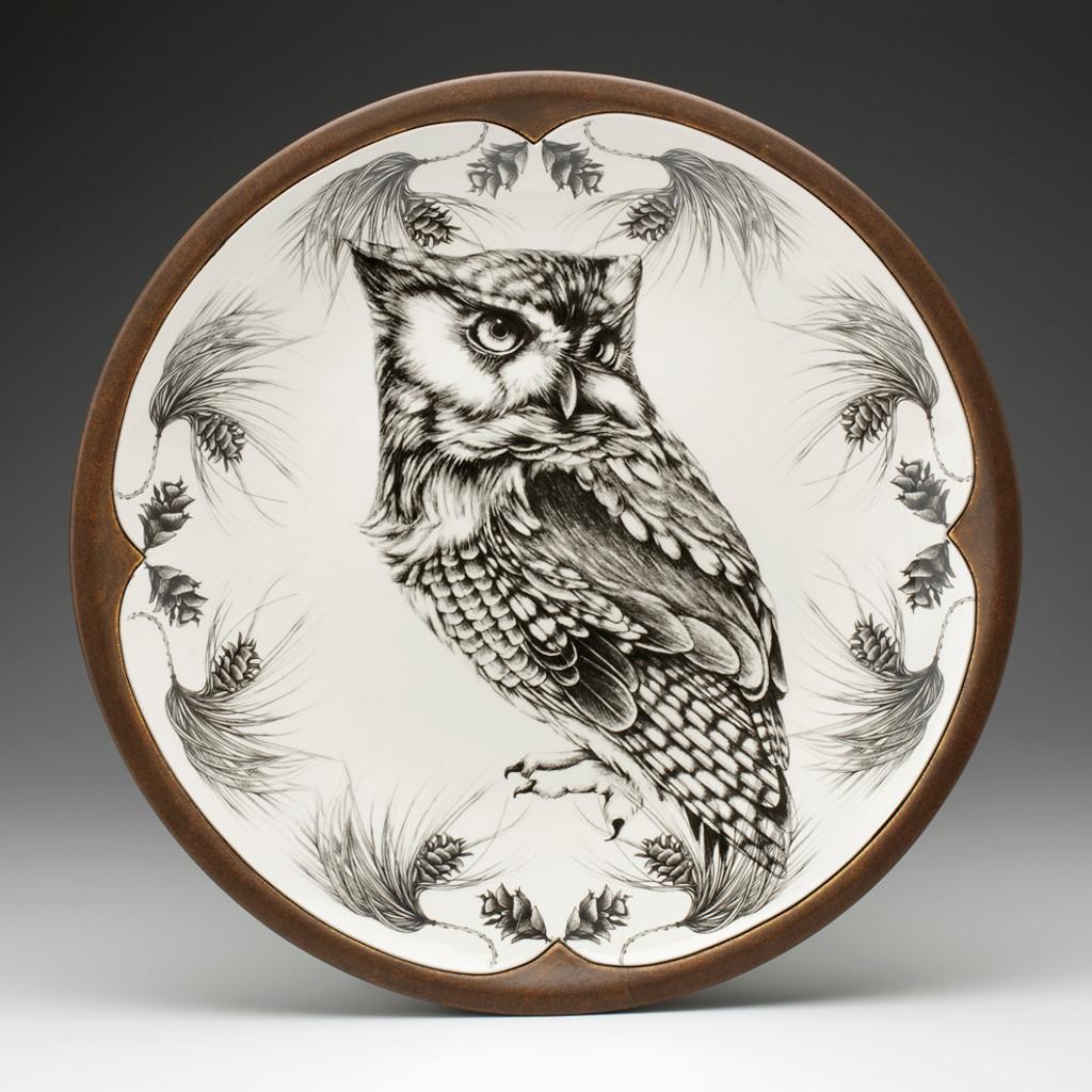 Large Round Platter: Screech Owl #1
