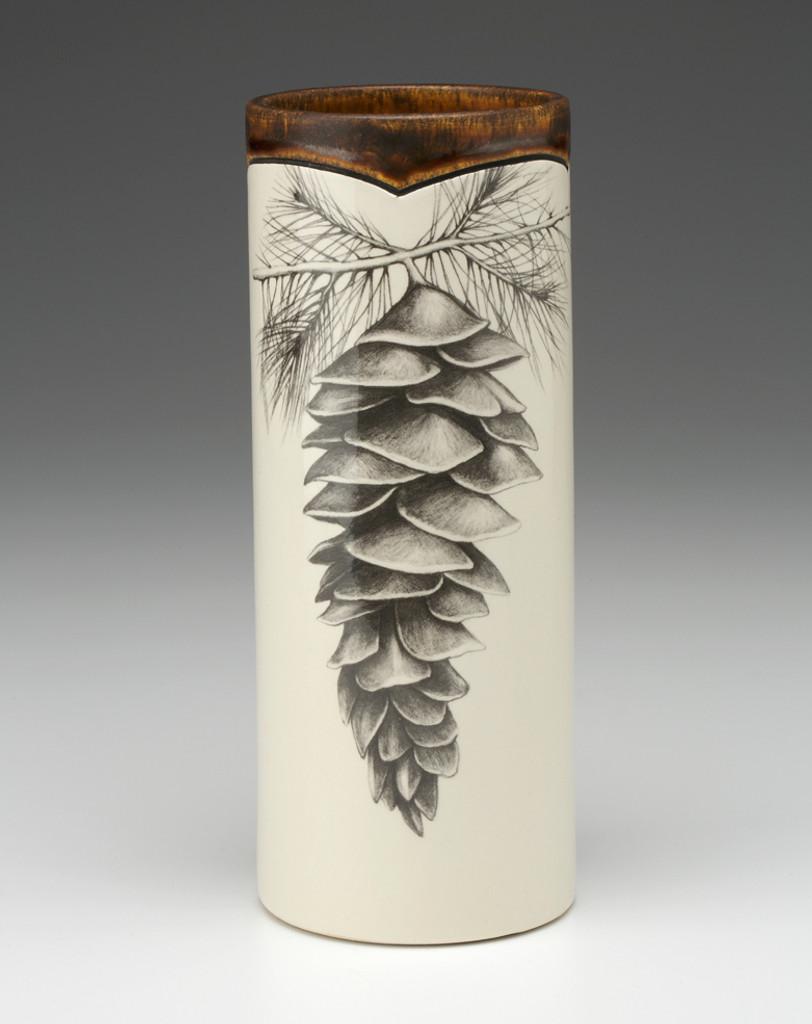 Handmade small Vase - White Pine Cone - Laura Zindel Designs