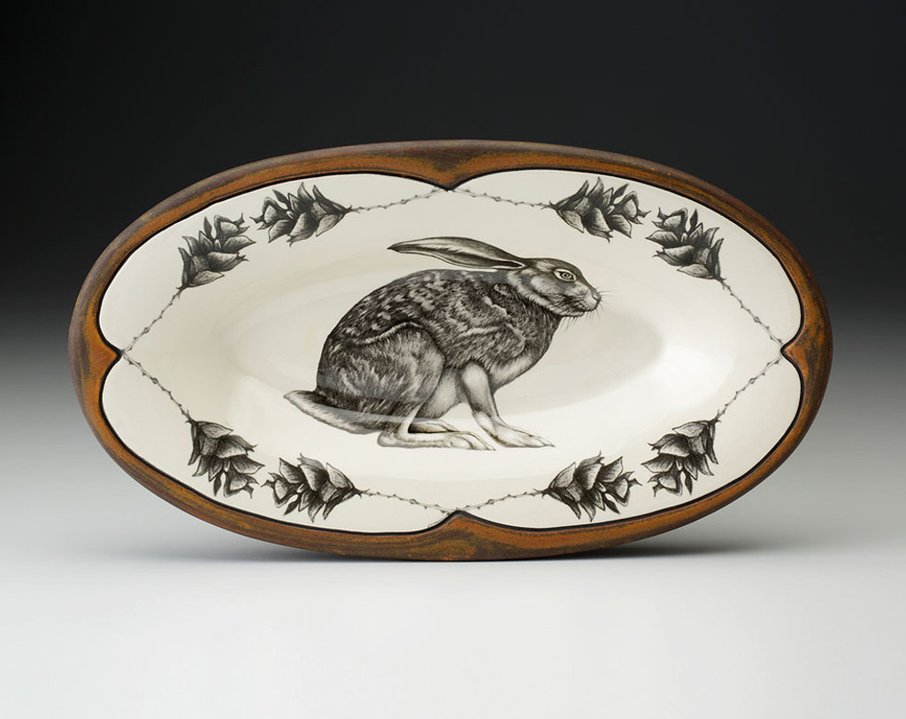 Oblong Serving Dish: Crouching Hare
