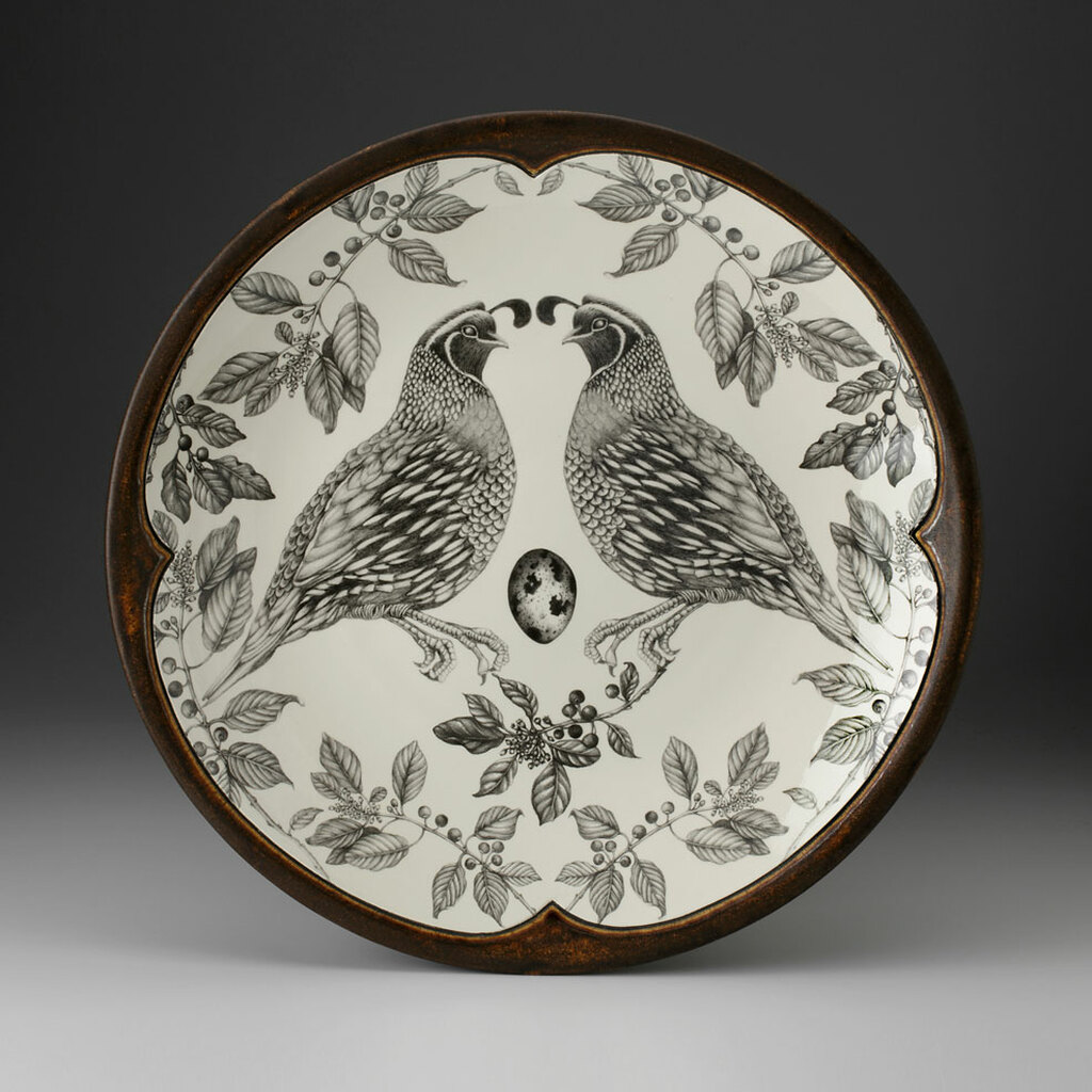Large Round Platter: Quail