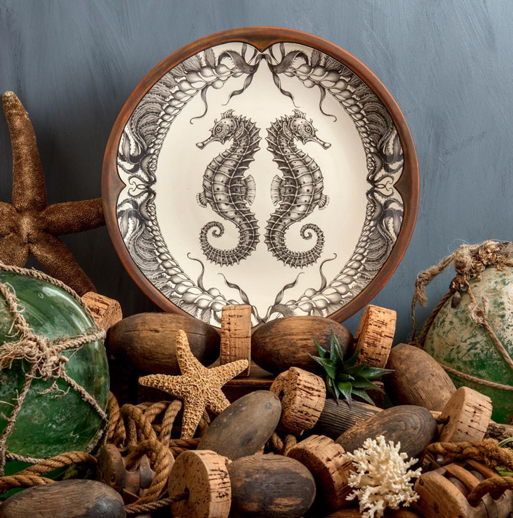 Large Round Platter: Seahorse