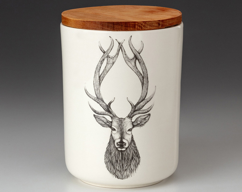 Medium Canister with Lid: Red Stag