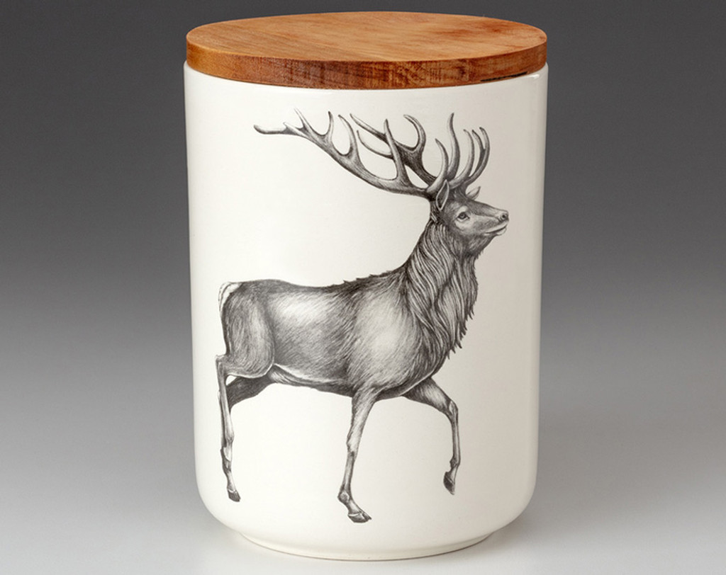 Medium Canister with Lid: Red Buck