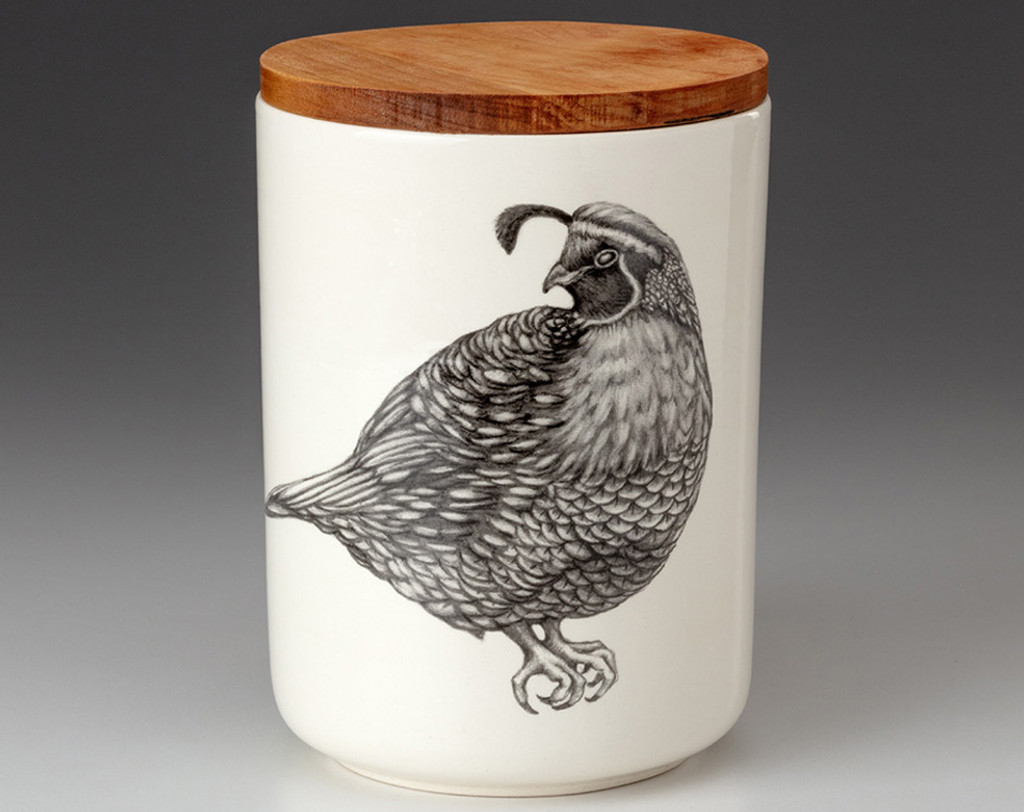 Medium Canister with Lid: Quail #4