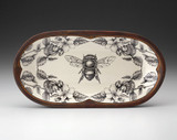 Rectangular Serving Dish: Honey Bee with Apple Blossom