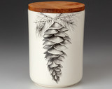 Medium Canister with Lid: White Pine Cone