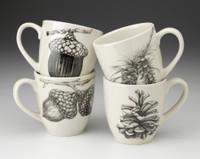 Set of 4 Mugs: Acorns and Pine Cones