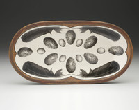 Rectangular Serving Dish: Crow Feathers & Eggs