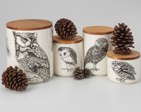 Small Canister with Lid: Barn Owl