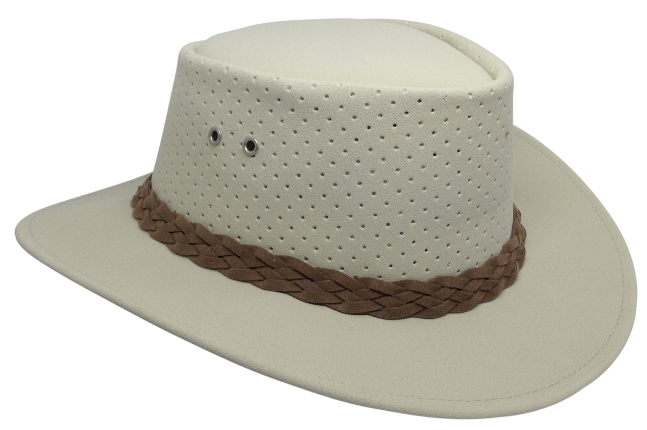 05b362f2be6 Pearl White Outback Bushie Perforated Shade Hat by Aussie Chiller