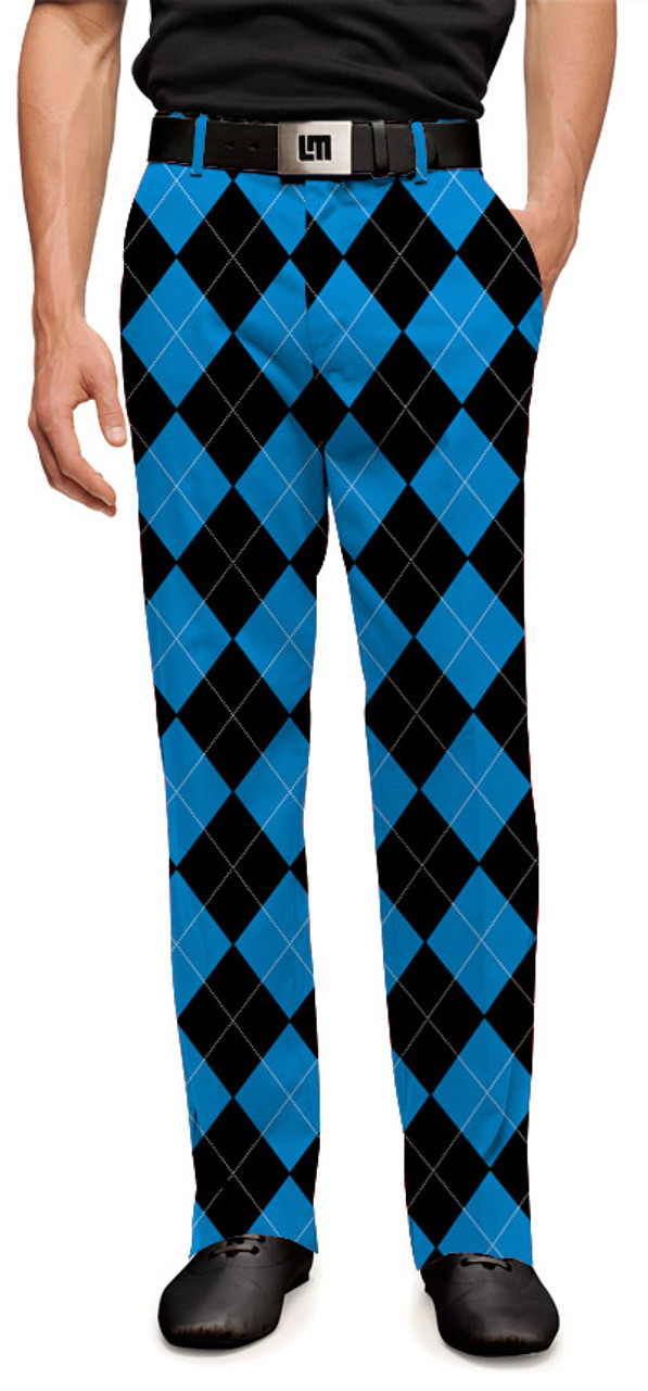 c933e2e27 Carolina Panthers Black & Blue Mens Golfing Pants by Loudmouth Golf