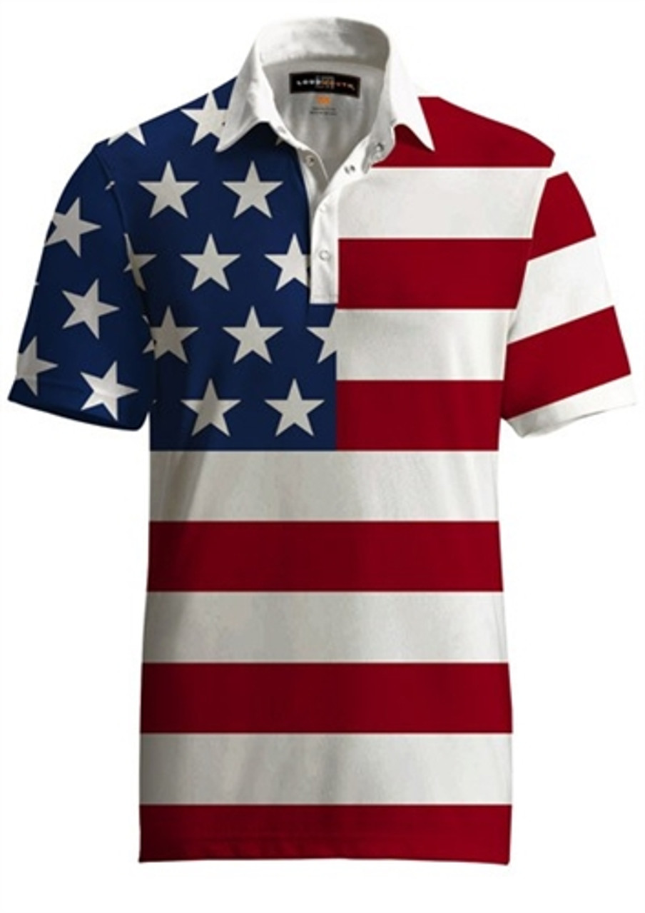 d58081bf8 Mens Golfing Shirts   Polos by Loudmouth Golf - Fancy Stars   Stripes Shirt