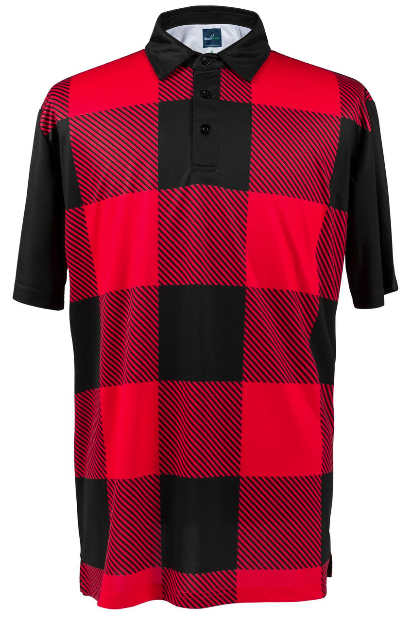 c6ffa00e9 Red & Black Lumberjack Buffalo Check Mens Polo by ReadyGolf