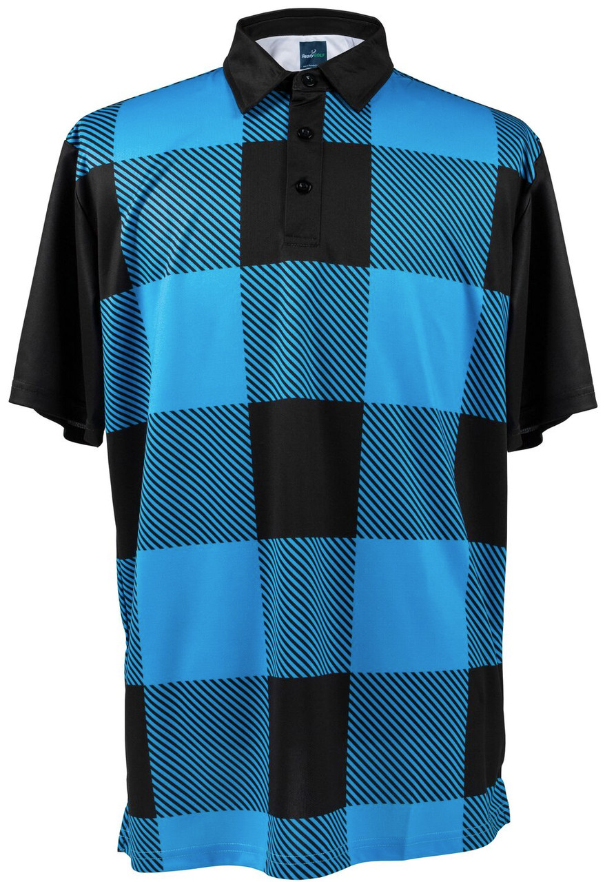 8984278b8 Black & Blue Lumberjack Buffalo Check Mens Golf Polo by ReadyGolf
