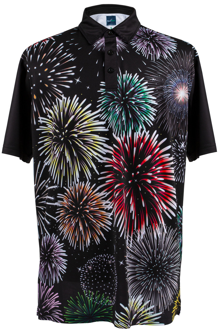 3fd896b4fce Fireworks Polo Mens Loud Golf Polo Shirt by ReadyGOLF