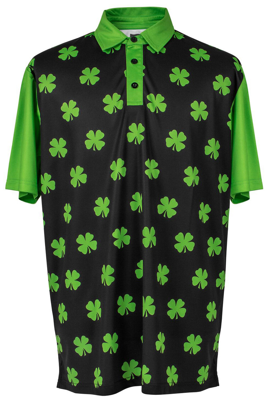 buy popular 99f94 53271 Four-Leaf Clover (Lime Green) Mens Golf Polo Shirt by ReadyGOLF