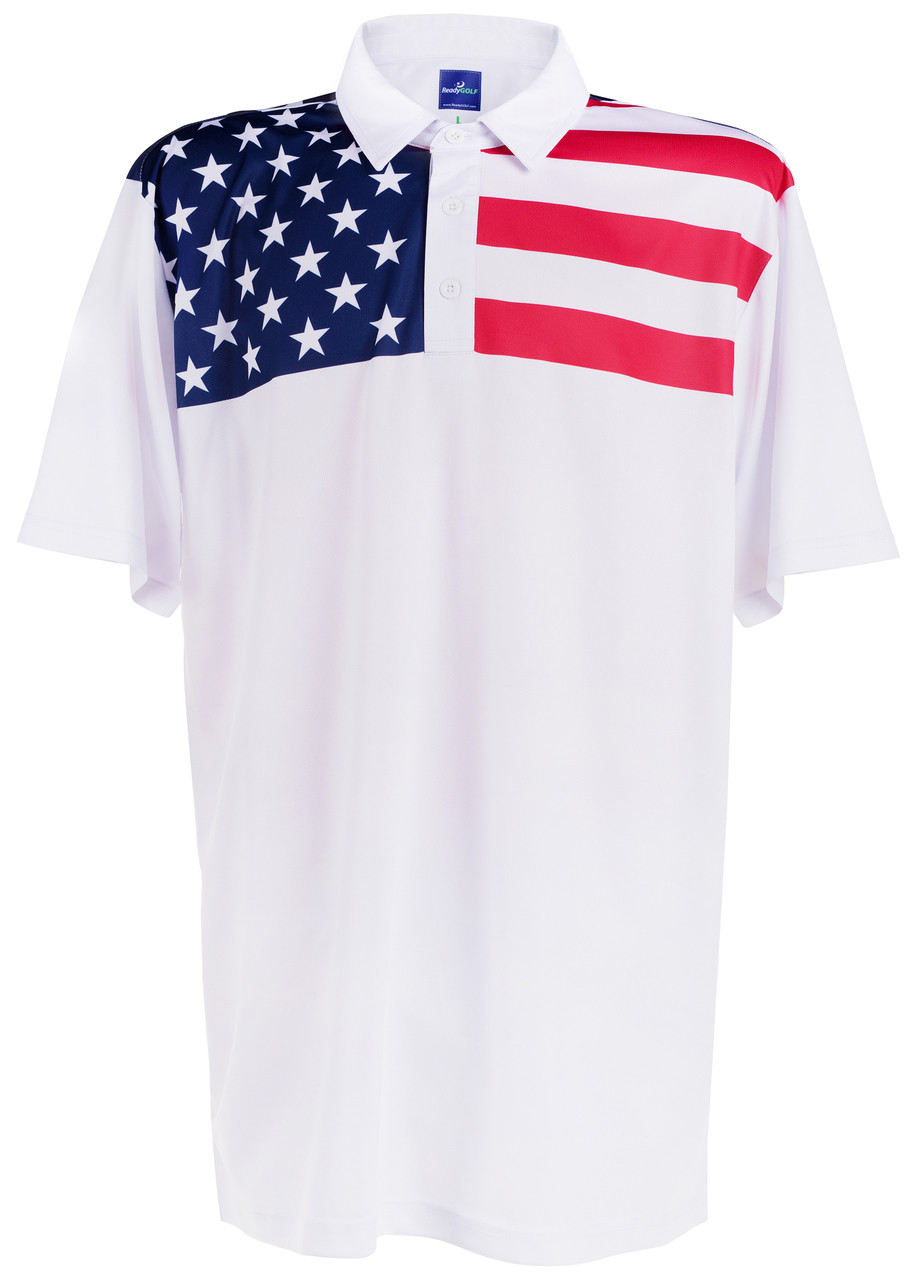 Readygolf Mens Golf Polo Shirt Living In America