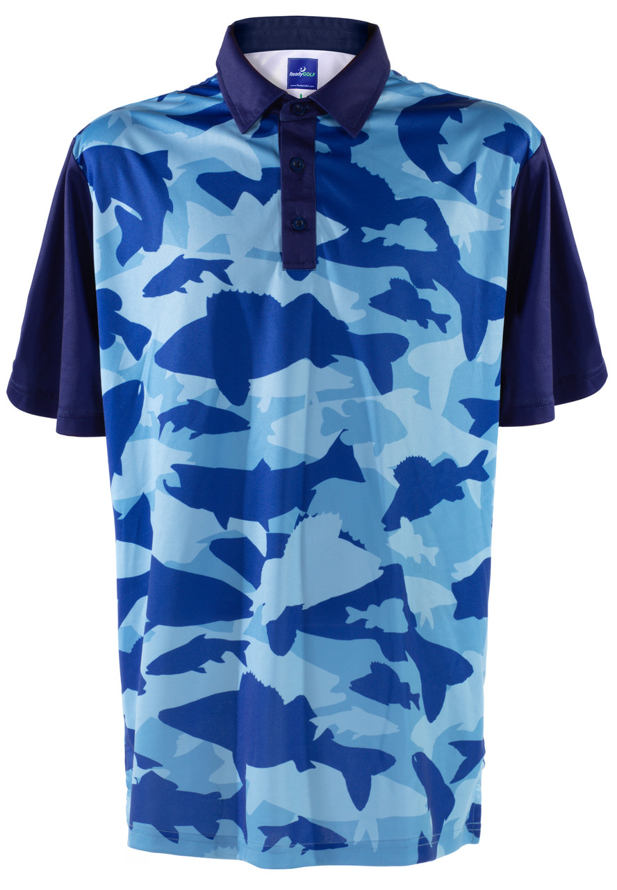 8b89acad Fish Camo Polo Mens Golf Polo Shirt by ReadyGOLF