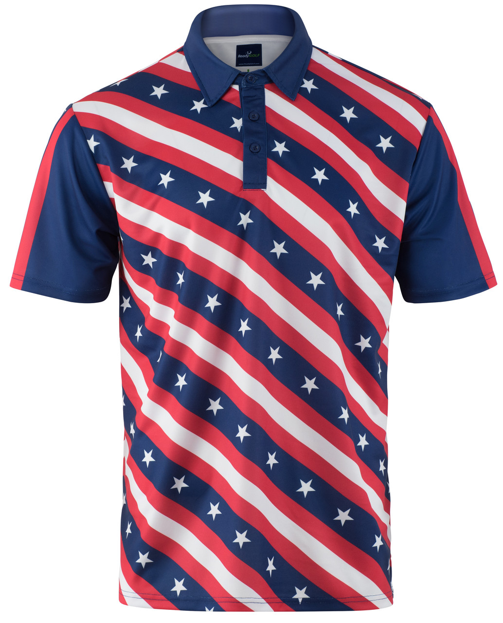 df3602a2c5 USA Flag Stars and Bars Mens Golf Polo Shirt by ReadyGOLF