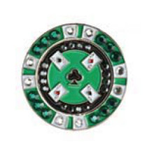 Bonjoc: Ball Marker & Hat Clip - Green Poker Chip