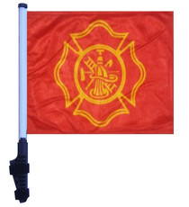 SSP Flags: 11x15 inch Golf Cart Flag with Pole - Fire Dept Maltese Cross Design