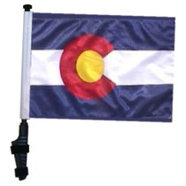 SSP Flags: 11x15 inch Golf Cart Flag with Pole - State of Colorado