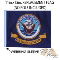 SSP Flags: 11x15 inch Golf Cart Replacement Flag - Retired Navy