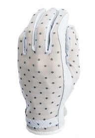 Evertan: Women's Tan Through Golf Glove - Black & White Dots
