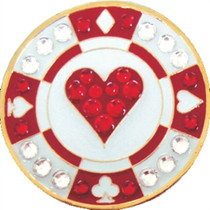 Navika: Swarovski Crystals Ball Marker & Hat Clip - Red Heart Poker Chip