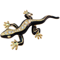 ReadyGolf: 3D Gold & Black Lizard Ball Marker & Hat Clip with Crystals