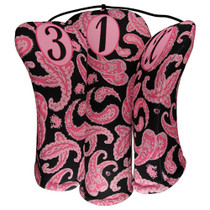 BeeJos: Golf Head Cover - Black & Pink Paisley