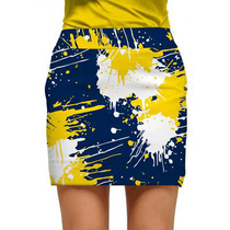 Loudmouth Golf: Women;s Skort - Blue & Gold Paint Ball