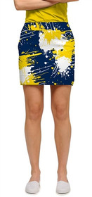 Loudmouth Golf Womens Skort - Blue & Gold Paint Ball