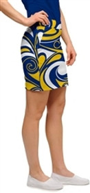 Loudmouth Golf Womens Skort - Blue & Gold Splash - SALE