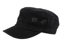 Dolly Mama: Ladies Fidel Military Cap - Bow on Black