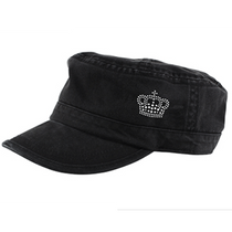 Dolly Mama: Ladies Fidel Military Cap - Crown on Black