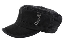 Dolly Mama: Ladies Fidel Military Cap - Golf Girl on Black
