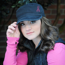 Dolly Mama: Ladies Fidel Military Cap - Pink Ribbon on Black