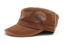 Dolly Mama: Ladies Fidel Military Cap - Shell on Chocolate