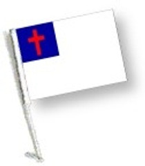 SSP Flags: Car Flag with Pole - Christian