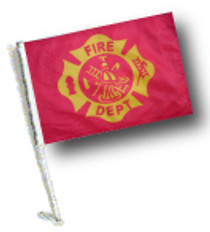 SSP Flag: Car Flag with Pole - Fire Dept Vintage Design
